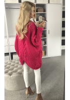 Sweter narzutka z warkoczem A15 Amarantowy ILM
