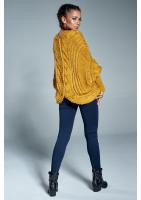 Sweter narzutka z warkoczem A15 Musztardowy ILM