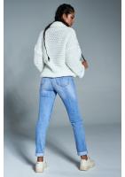 Sweter z golfem o grubym splocie A12 Kremowy ILM