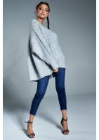 Sweter oversize z dekoltem V A006 Szary ILM