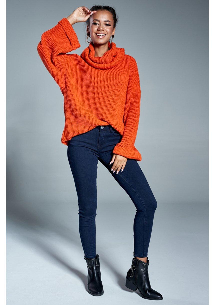 Sweter z golfem A17 Pomarańczowy ILM