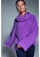 Sweter z golfem A17 Fioletowy ILM