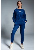 Spodnie z dzianiny frotte Granatowa ILM