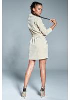Welurowa sukienka z golfem Beżowa ILM