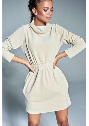 VELVET TURTLENECK DRESS IN BEIGE COLOR ILM