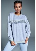 Bawełniana bluza z frędzlami Szara ILM