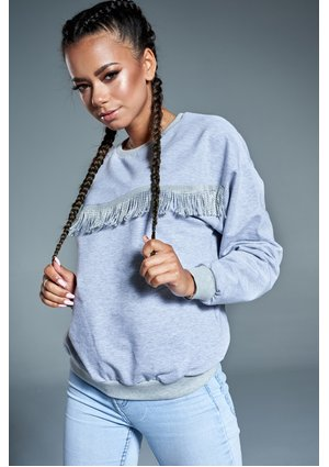 GREY SWEATSHIRT WITH TASSELS ILM