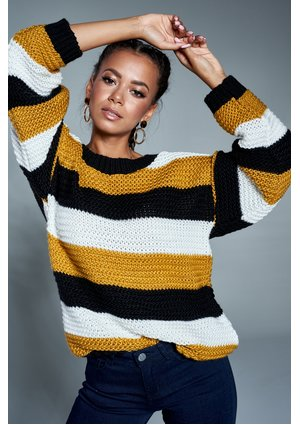 Sweter w paski A09 Musztardowy ILM