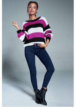 Sweter w paski A09 Amarantowy ILM