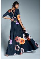 Jesienna sukienka maxi w kwiaty