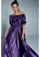 Sukienka maxi w hiszpańskim stylu z satyny Fioletowa