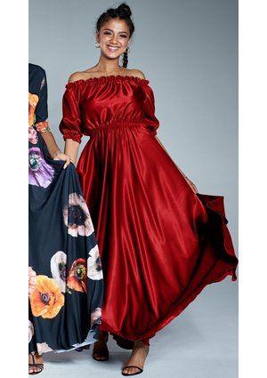 SATIN MAXI OFF SHOULDERS DRESS IN RED COLOR