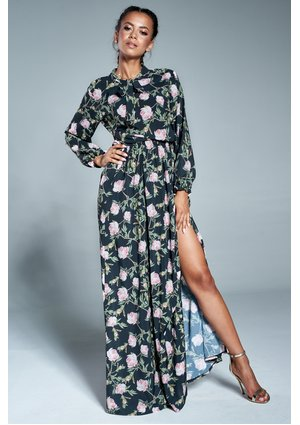 Sukienka w kwiaty z wiązaniem w dekolcie