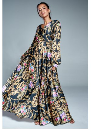 MAXI CROSSOVER DRESS IN ORNAMENT FLOWERS PRINT