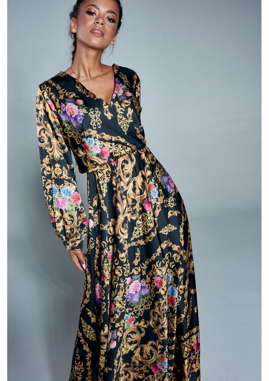 Kopertowa sukienka maxi ornament flower
