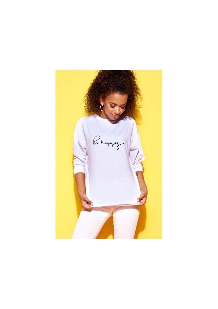 """Bawełniana bluza """"Be happy"""" biała ILM"""
