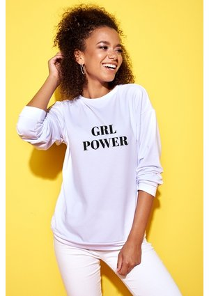 """Bawełniana bluza """"Girl power"""" biała ILM"""
