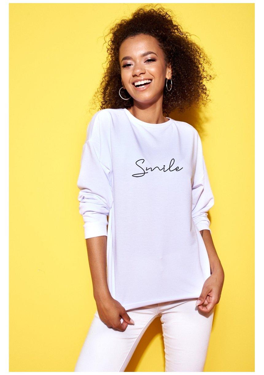 """Bawełniana bluza """"Smile"""" biała ILM"""