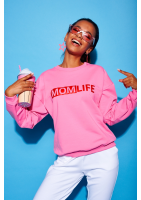"Bawełniana bluza ""Red mom life"" fuksja ILM"