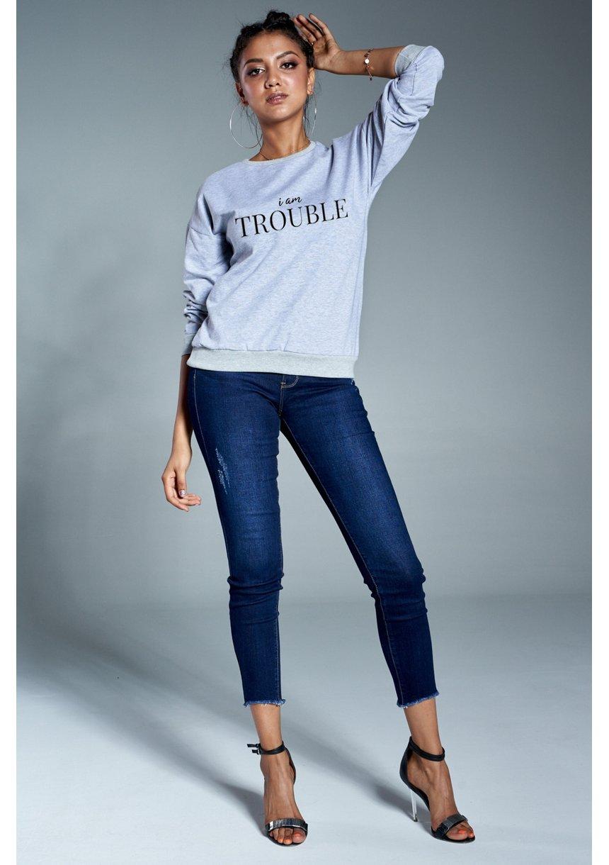 """Bawełniana bluza """"Im Trouble"""" szara ILM"""