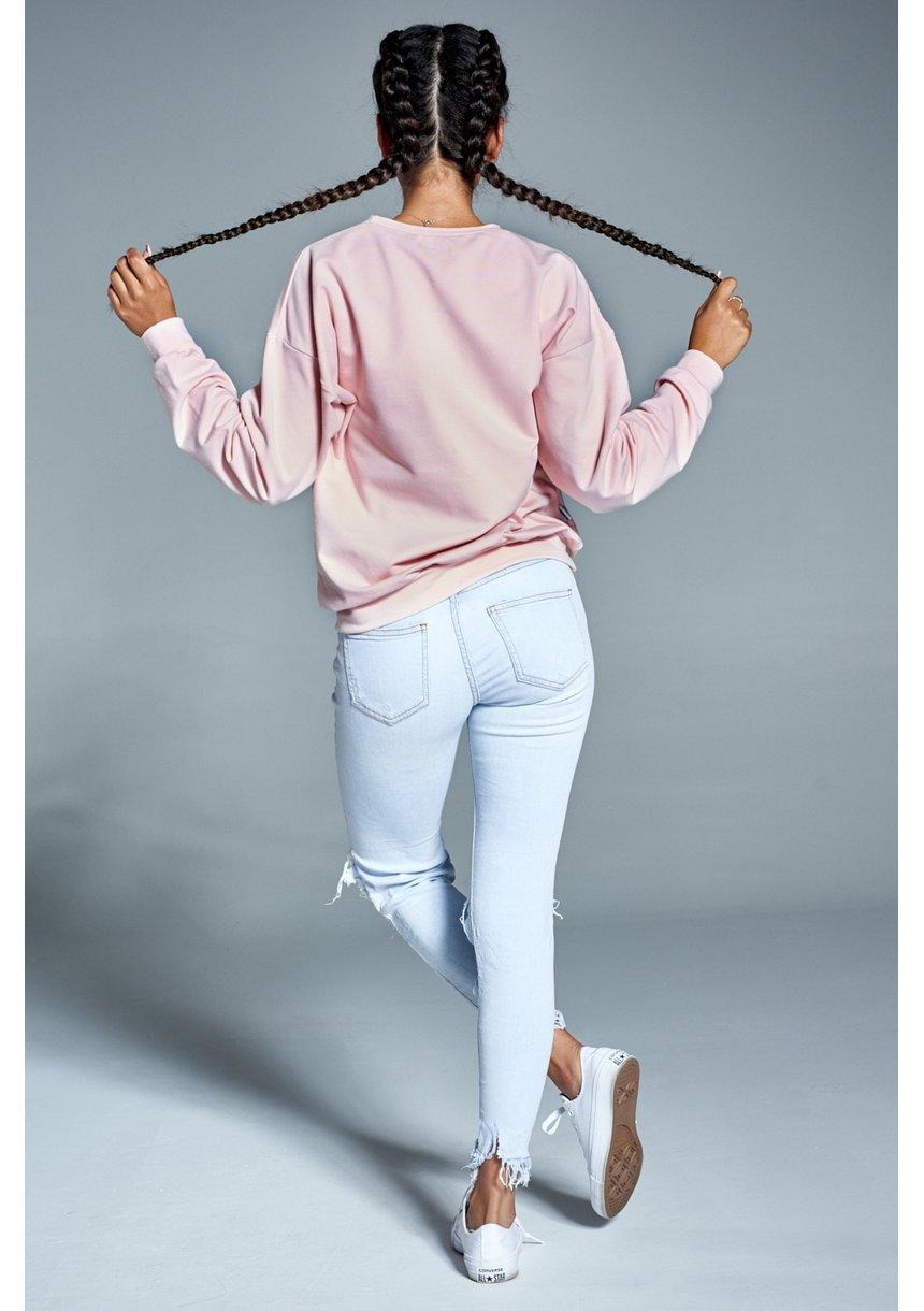 """Bawełniana bluza """"Stay Classy"""" pudrowa ILM"""
