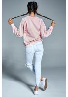 """Bawełniana bluza """"Żona idealna"""" pudrowa ILM"""
