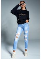 """Bawełniana bluza """"Wild girl"""" czarna ILM"""