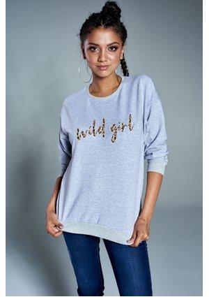 """Bawełniana bluza """"Wild girl"""" szara ILM"""