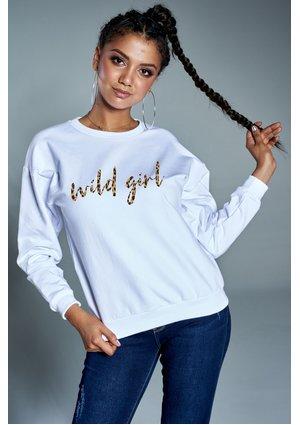 """Bawełniana bluza """"Wild girl"""" biała ILM"""