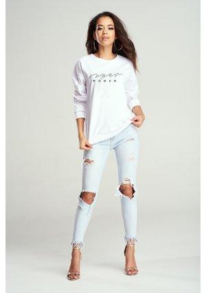 "Bawełniana bluza ""Super woman"" biała ILM"