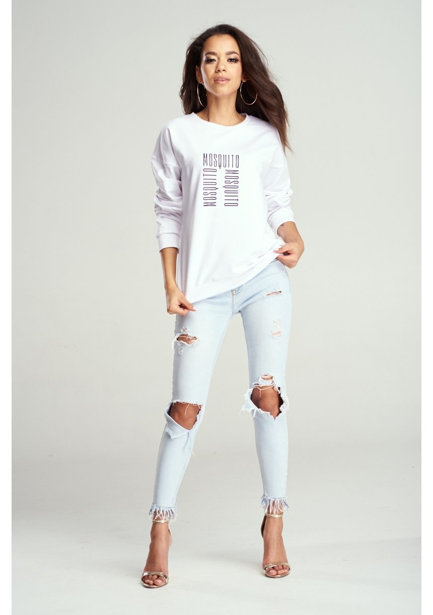 """Bawełniana bluza """"Logo MOSQUITO"""" biała ILM"""