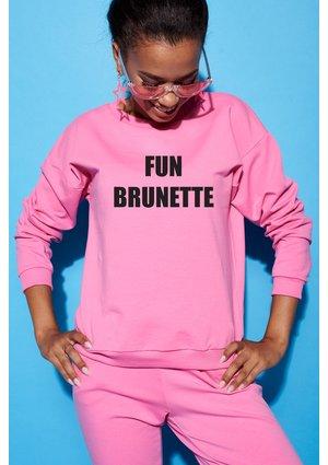 "Bawełniana bluza ""Fun brunette"" fuksja  ILM"
