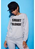 """Bawełniana bluza """"Smart blondie"""" szara ILM"""