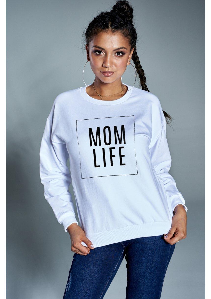 """Bawełniana bluza """"Mom life"""" biała ILM"""