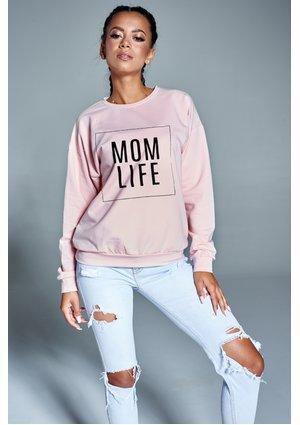 """Bawełniana bluza """"Mom life"""" pudrowa ILM"""