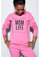 "Bawełniana bluza ""Mom life"" fuksja ILM"