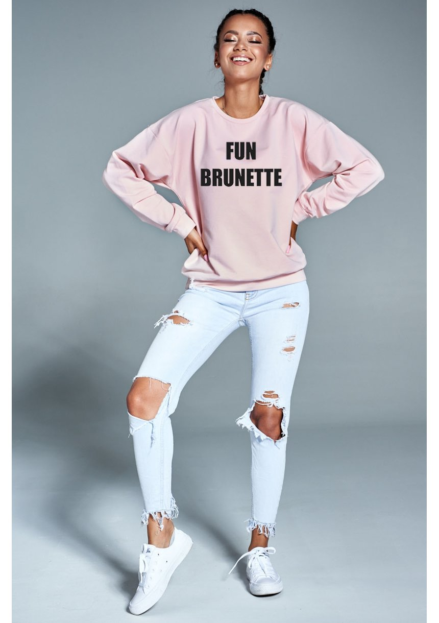 """Bawełniana bluza """"Fun brunette"""" pudrowa  ILM"""