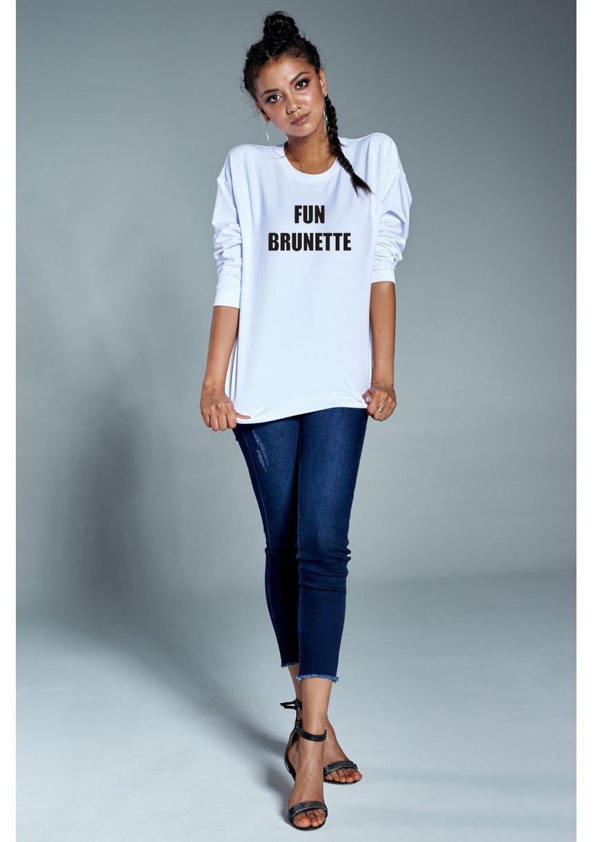 "Bawełniana bluza ""Fun brunette"" biała  ILM"