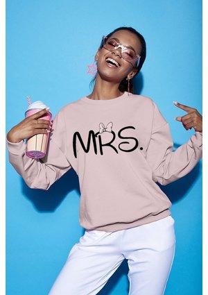 "Bawełniana bluza ""MRS"" pudrowa ILM"