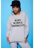 """Bawełniana bluza  """"Zarobiona jestem""""  szara ILM"""