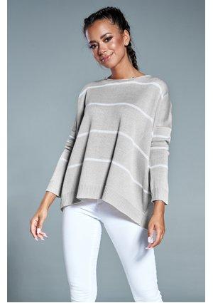 Oversizowy sweter w paski A Szary ILM