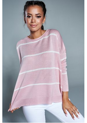 OVERSIZED STRIPED SWEATER IN POWDER COLOR A38 ILM