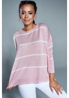 Oversizowy sweter w paski A Pudrowy ILM