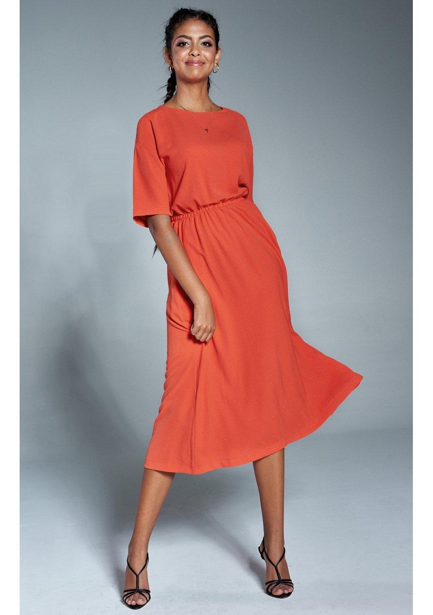 Sukienka midi z kieszeniami Pomarańczowa