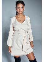 Klasyczna sukienka z dekoltem V Beżowa