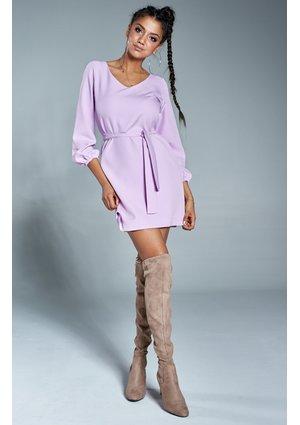 Klasyczna sukienka z dekoltem V Fioletowa