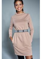 Sukienka na stójce z gumą logo  Beżowa ILM