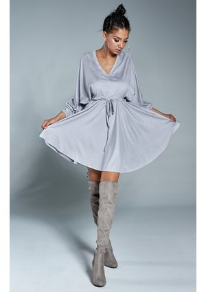 SUEDE V-NECK DRESS IN GREY COLOR
