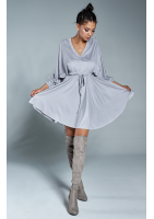 Sukienka z troczkiem z delikatnego zamszu Szara