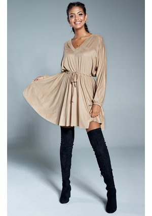 SUEDE V-NECK DRESS IN BEIGE COLOR